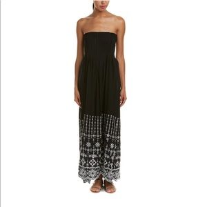 Parker June black and white embroidered maxi